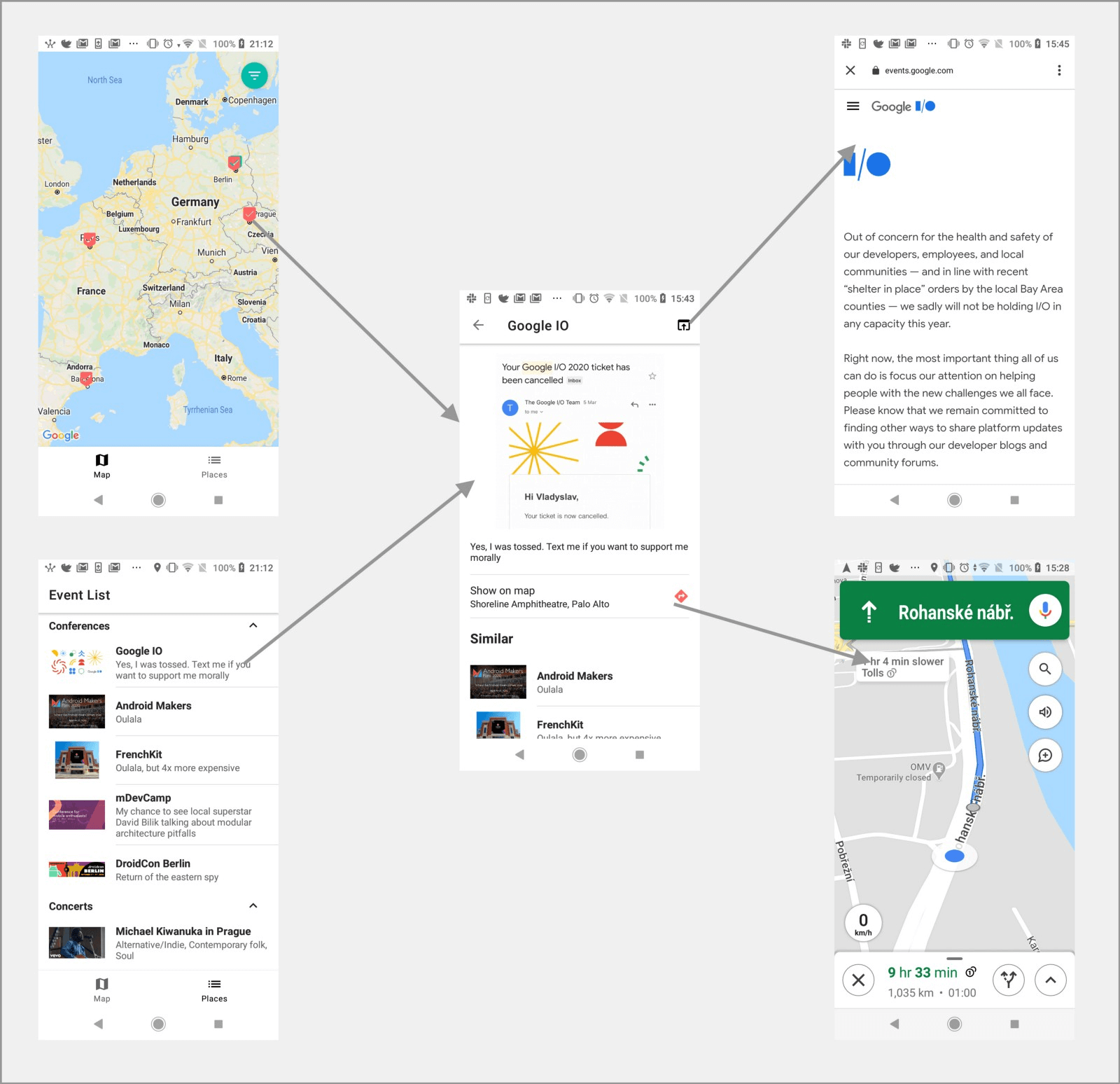 Map and events feature as part of navigation in multi-module project